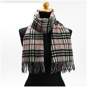 Burberry of London Cashmere Wool Scarf Gray Check 140 Ladies
