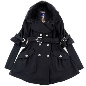 Burberry Blue Label Wool Flare Coat with Fur Black 38 Ladies Lining Plaid