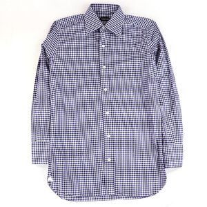 Tom Ford Gingham Plaid Long Sleeve Shirt Cotton Mens Blue x White 38 TOM FORD