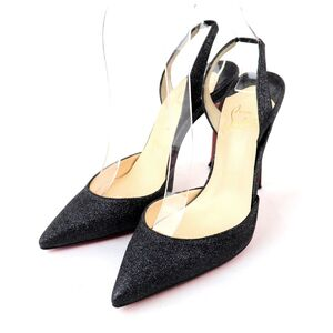Christian Louboutin Glitter Strap Pointed Toe Pumps Black 36.5 Ladies