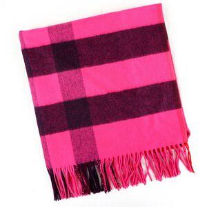 Burberry Over Die Half Mega Check Muffler Fringe Pink Cashmere