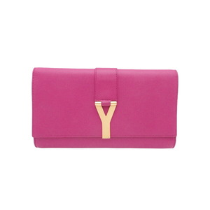 Saint Laurent SAINT LAURENT clutch bag Y logo pink leather gold metal fittings ladies