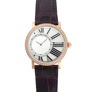 CARTIER Rotonde de Cartier 18K Pink Gold Leather Hand-Winding Mens Watch HPI00635