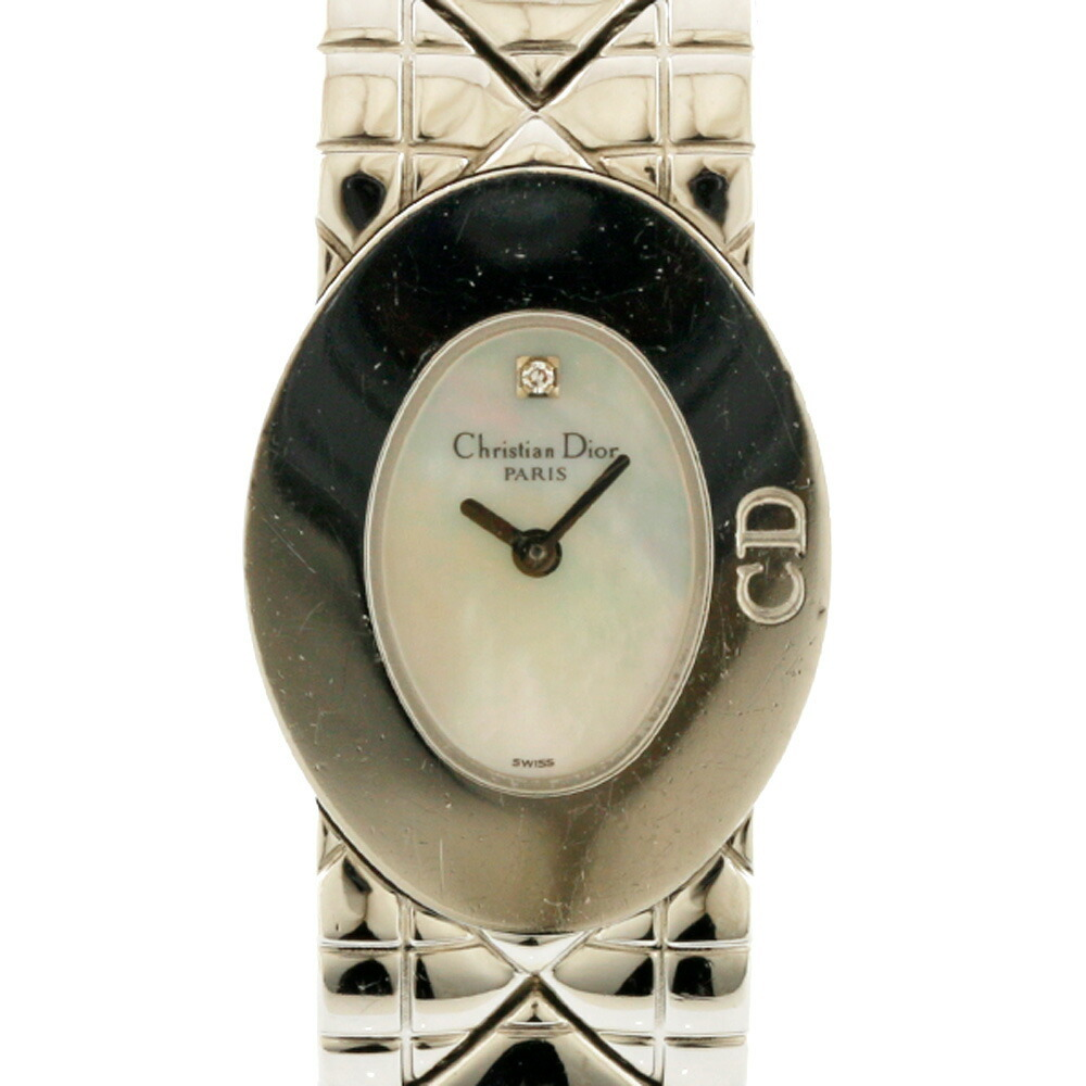 Christian Dior Watch White Shell Silver Ladies Stainless Steel
