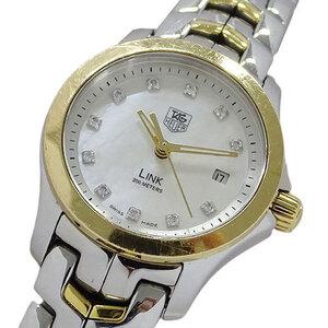 TAG Heuer Watch WJF1353 BB0581 Link Shell 11P Diamond Quartz Date Ladies