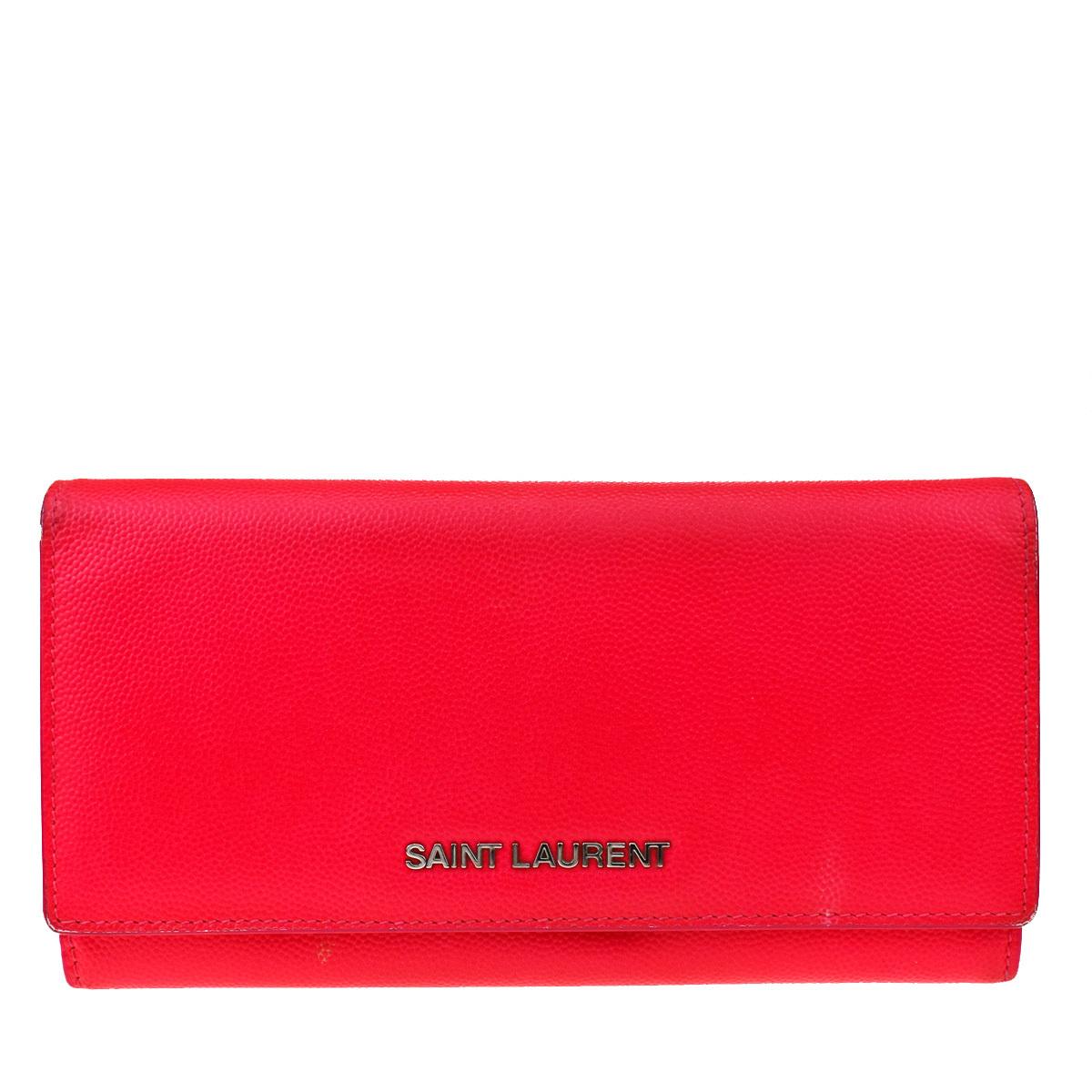 サン・ローラン(Saint Laurent) レザー 長財布(二つ折り) ピンク
