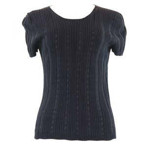 Chanel 05P Short Sleeve Knit Tops Women's Black 38 Cut-and-Sew See-Through Coco Mark