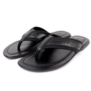Louis Vuitton Logo Punched Leather Flip Flops Black 9 Mens