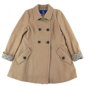 Burberry Blue Label Flare Coat Ladies Beige 38 Double Lining Check