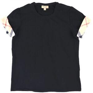 Burberry Plaid Folded Crew Neck T-shirt Women's Black XL Cotton Short Sleeve Cut and Sew
