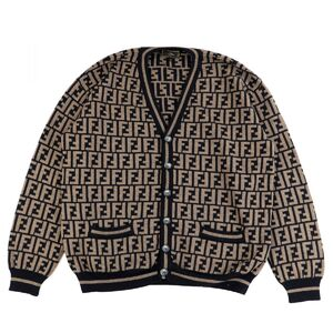 Fendi Vintage Zucca Pattern FF Logo Knit Cardigan Men's Brown x Black 50 Wool Monogram