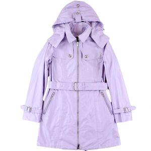 Burberry Hooded Bal collar Coat Women's Purple 38 Belt Zip Up