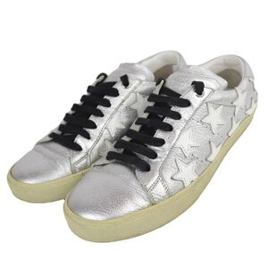 Yves Saint Laurent Paris Star Leather Low Cut Sneakers Women's 39 Silver Metallic