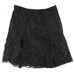 Chanel 06A Floral Lace Skirt Ladies Black 38 Rayon Flare