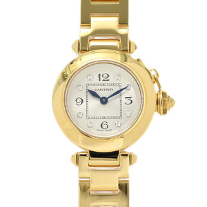 Cartier Miss Pacha Ladies Silver Dial 8P Diamond K18 Yellow Gold Quartz WJ124015 Watch