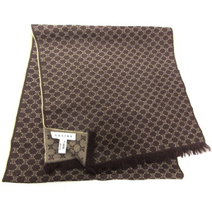 CELINE Celine Wool Scarf Macadam Pattern Dark Brown Men's Women's