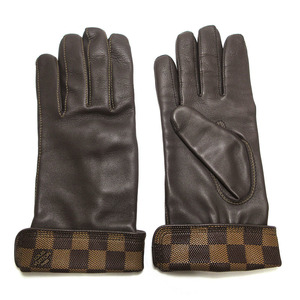 Louis Vuitton LOUIS VUITTON Damier Leather Lambskin Gloves Men's Gon Dark Brown