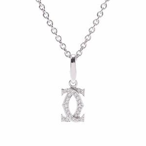 CARTIER Cartier 2C Charm Ladies K18 White Gold Diamond Necklace