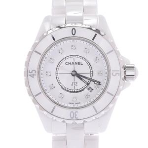 CHANEL シャネル J12 12Pダイヤ H1628 ボーイズ 白セラミック ステンレススチール 時計 クォーツ 白文字盤