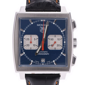 TAG HEUER タグホイヤー モナコ CW2113-0 メンズ レザー 時計 自動巻き 青文字盤