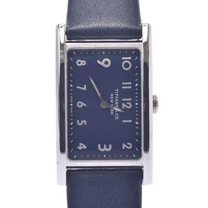 TIFFANY & Co. Tiffany East West 36668644 Ladies Leather Watch Quartz Navy Dial