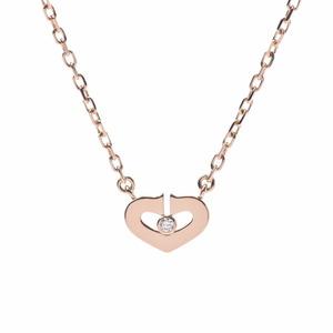 4°C CARTIER Cartier C Heart Necklace 1P Diamond Ladies K18 Pink Gold