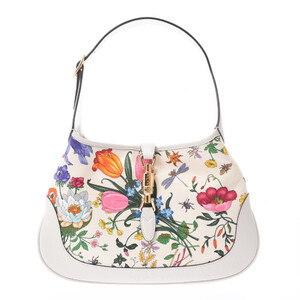 GUCCI Gucci Jackie Flora Hobo Bag Japan Limited Model White 550152 Ladies Canvas Leather One Shoulder