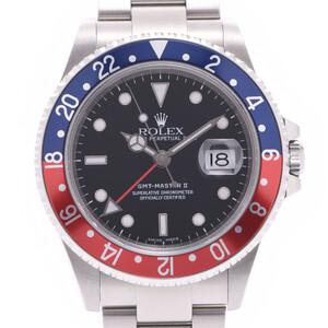 ROLEX GMT Master 2 Red Blue Bezel Pepsi 16710 Men's Watch Automatic Black Dial