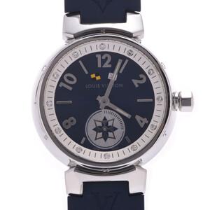 LOUIS VUITTON Tambour Lovely Cup 12P Diamond Q12MP Ladies Rubber Watch Quartz Blue Dial