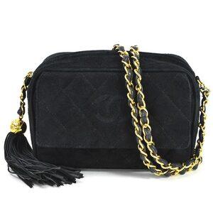Chanel Chain Shoulder Bag Matrasse Coco Mark Black Suede Gold Hardware Ladies