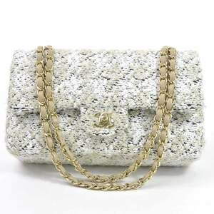 Chanel Chain Shoulder Bag Matrasse Double Flap White Beige Tweed Gold Hardware Ladies