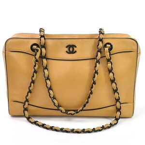 Chanel Shoulder Bag Chain Coco Mark Camel Black Calf Ladies A16834