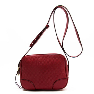 Gucci GUCCI Shoulder Bag Micro Shima Red Gold Leather Women's 449413