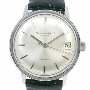 IWC Schaffhausen Antique cal.8541B 803A Stainless Steel Leather Self-winding Men's Silver Dial Watch