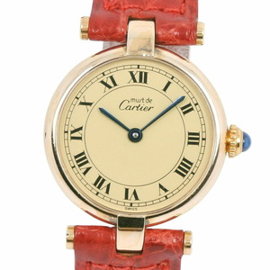 CARTIER Cartier Mast Vermeil 590004 Silver 925 Leather Red Quartz Ladies Gold Dial Watch