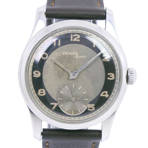 ZENITH Zenith Sport (Sports) Bullseye Vintage Stainless Steel Leather Manual Winding Men's Gray Dial Watch