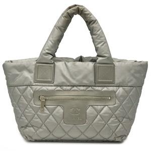Seal CHANEL Coco Cocoon Nylon Quilting Tote Bag Handbag Small Silver A48610