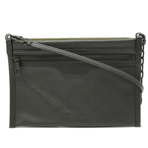 LOUIS VUITTON Monogram Shadow Flat Messenger Shoulder Pouch Clutch Bag Noir Khaki M44635