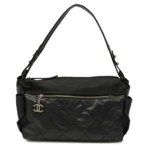 CHANEL Paris Biarritz Small Hobo Shoulder Bag One Coated Canvas Black A34205