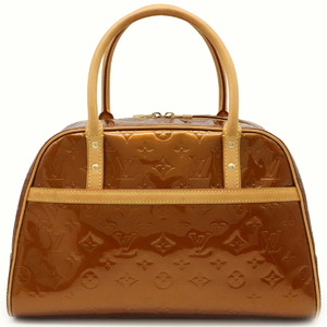LOUIS VUITTON Louis Vuitton Monogram Verni Tompkins Square Handbag Mini Boston Bag Enamel Calf Bronze M91103