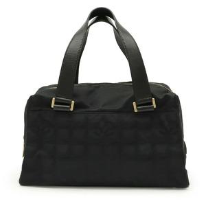 Seal CHANEL New Travel Line Handbag Mini Boston Nylon Jacquard Leather Black A30916