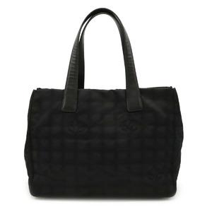 Seal CHANEL New Travel Line Tote MM Bag Semi-shoulder Nylon Jacquard Leather Black A15991