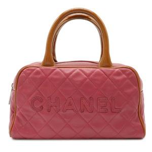 CHANEL Matrasse Caviar Skin Bowling Bag Handbag Tote Mini Boston Leather Enamel Wine Red