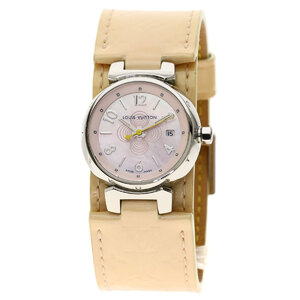 Louis Vuitton Q1216 Tambour Verni Watches Stainless Steel Leather Ladies