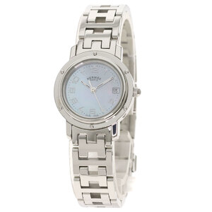 Hermes CL4.210 Clipper Nacre Watch Stainless Steel Ladies