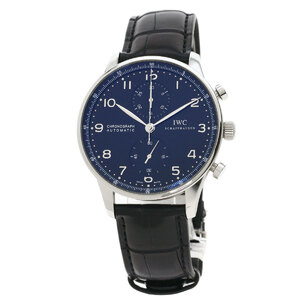 IW371438 Portugieser Chronograph Watch Stainless Steel Leather Men's