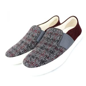 Chanel 16B Tweed Slip-On Sneakers Gray Bordeaux 36 Women's Suede Coco Mark