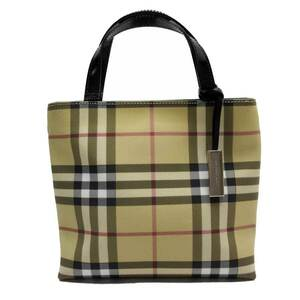 Burberry Handbag Nova Check Beige Black PVC Leather Ladies
