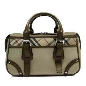 Burberry Handbag Check Beige Brown Gold Canvas Leather Ladies