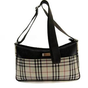 Burberry Shoulder Bag Nova Check Beige Brown Canvas Leather BURBERRY Ladies
